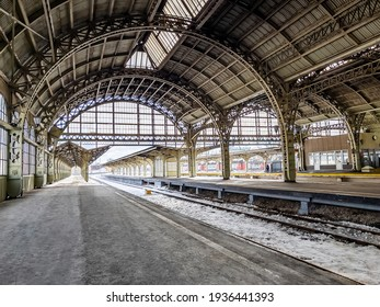 St. Petersburg, Russia, March 7, 2021. Vitebsk railway station - the oldest in the city. Platforms under roof
