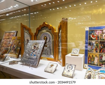 St. Petersburg, Russia, March 7, 2021. Interior of the lobby of the Faberge Museum in the Shuvalov Palace on the embankment of the Fontanka River