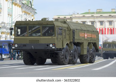 """ST. PETERSBURG, RUSSIA - MAY 05, 2015: Self-propelled launcher MZKT-7930 missile complex """"Iskander"""". Rehearsal of parade in honor of Victory day in St. Petersburg"""