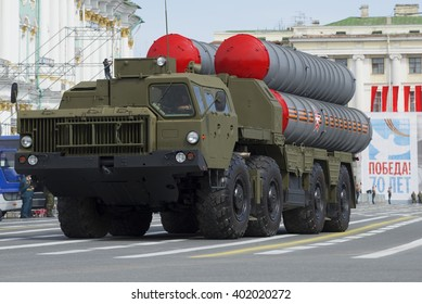 ST. PETERSBURG, RUSSIA - MAY 05, 2015: Launcher S-300PM closeup on parade rehearsal in honor of Victory Day on Palace Square