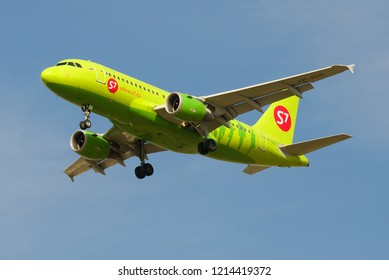 "ST. PETERSBURG, RUSSIA - MAY 08, 2018: The flying Airbus A319-114 (VP-BHQ) ""S7 - Siberia"" airline close up in the blue sky"