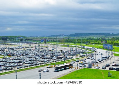 ST PETERSBURG, RUSSIA - MAY 11, 2016. Birds eye view of airport auto crowded parking lot in Pulkovo International airport in Saint-Petersburg, Russia