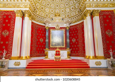 St. Petersburg, Russia - May 12, 2017: Small Throne Room of Winter Palace, also known as Peter Great Memorial Hall, was created for Tsar Nicholas I in 1833, by architect Auguste de Montferrand