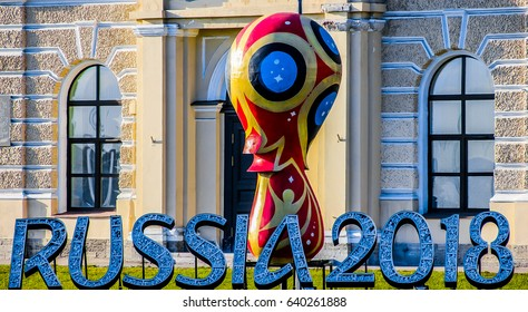 St Petersburg. Russia, May 13, 2017: The monument to the 2018 FIFA World Cup.