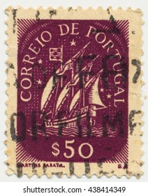 ST. PETERSBURG, RUSSIA - MAY 17, 2016: A postmark printed in PORTUGAL, shows Caravel, circa 1943