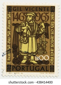 ST. PETERSBURG, RUSSIA - MAY 17, 2016: A postmark printed in PORTUGAL, shows Man, Characters from Gil Vicente (1465-1536) Plays, circa 19