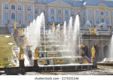 ST PETERSBURG, RUSSIA - May 2, 2017: Grand Cascade Fountains in Peterhof Palace.
