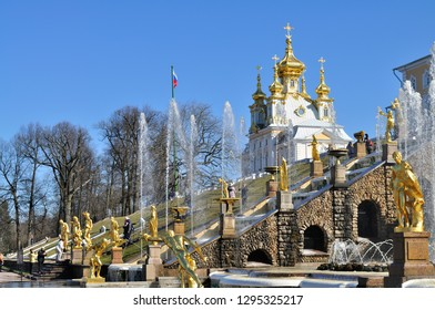 ST PETERSBURG, RUSSIA - May 2, 2017: Grand Cascade Fountains in Peterhof Palace