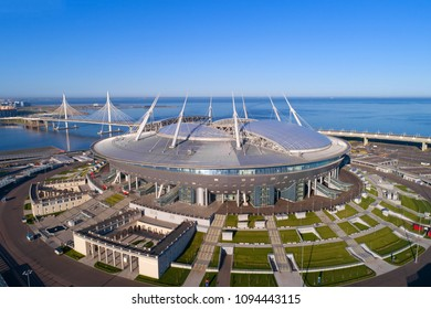 "ST PETERSBURG, RUSSIA - MAY 20, 2018: New modern stadium ""St. Petersburg Arena"" close-up on a sunny May day (aerial photography)"