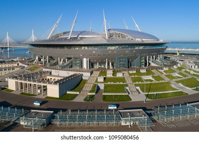 "ST. PETERSBURG, RUSSIA - MAY 20, 2018: Modern stadium ""St. Petersburg Arena"" closeup Sunny may day"