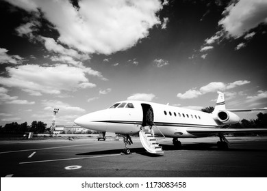 St. Petersburg, Russia - May 20th 2012: Falcon 2000 Business Jet with open door waiting for passengers