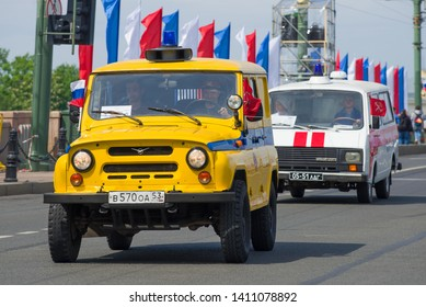 ST. PETERSBURG, RUSSIA - MAY 25, 2019: Off-road car UAZ-469 of the Soviet militia close up. Fragment of retro transport parade on City Day