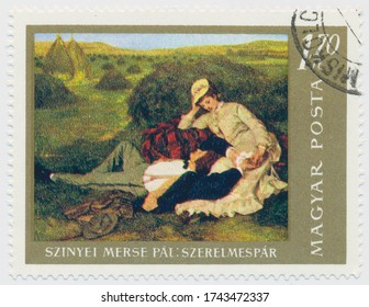 ST. PETERSBURG, RUSSIA - MAY 28, 2020: A postmark printed in HUNGARY, shows painting The Lovers, by Pal Szinyei Merse (1845-1920, circa 1967