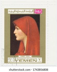 ST. PETERSBURG, RUSSIA - MAY 28, 2020: A postmark printed in MUTAWAKKILITE KINGDOM OF YEMEN, shows painting Fabiola, by Jean Jacques Henner, circa 1969