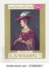 ST. PETERSBURG, RUSSIA - MAY 28, 2020: A postmark printed in MUTAWAKKILITE KINGDOM OF YEMEN, shows painting Saskia van Uylenburgh by Rembrandt, circa 1969