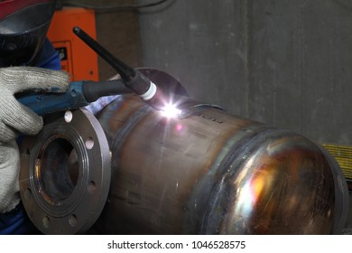 St. Petersburg, Russia - May 30, 2017: Welding machine provide weld  for tank made of stainless steel.