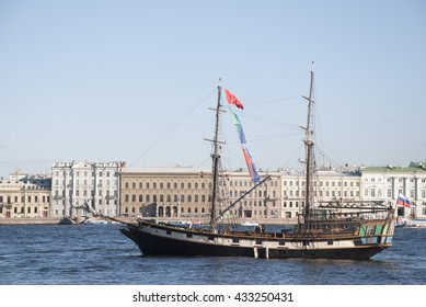 St. Petersburg, RUSSIA - May 30, 2016: sailboat floating in the waters of the river Neva, in the event