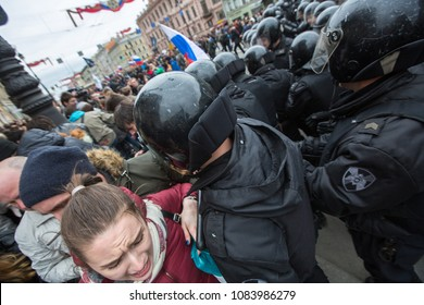 ST. PETERSBURG, RUSSIA - MAY 5, 2018: Police officers in riot gear block an Nevsky prospect during an opposition protest rally ahead of President Vladimir Putin's inauguration ceremony.