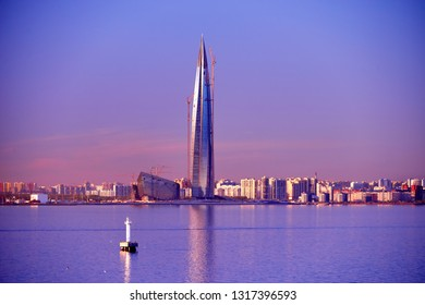 ST. PETERSBURG, RUSSIA - May 5, 2018: Single Modern Skyscraper Architecture Building in Gulf of Kronstadt . Lakhta Center, Headquarters of Gazprom Company. Lakhta Center is Tallest Building in Europe.