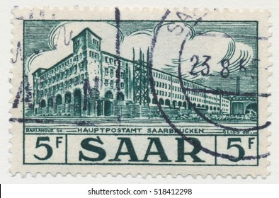 ST. PETERSBURG, RUSSIA - NOV 8, 2016: A postmark printed in SAAR, shows General Post Office, circa 1953