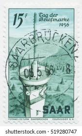 ST. PETERSBURG, RUSSIA - NOV 8, 2016: A postmark printed in SAAR, shows Radio Tower in Saarbrucken, circa 1956