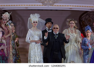 ST. PETERSBURG, RUSSIA - NOVEMBER 15, 2018: Slava Zaitsev (center) after the fashion parade of his collection in the Hermitage hotel during Saint-Petersburg International Cultural Forum