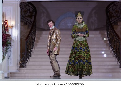 ST. PETERSBURG, RUSSIA - NOVEMBER 15, 2018: Fashion parade of Slava Zaitsev collection in the Hermitage hotel during Saint-Petersburg International Cultural Forum
