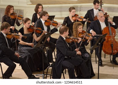 ST. PETERSBURG, RUSSIA - NOVEMBER 16, 2018: St. Petersburg Capella Symphony Orchestra perform works of Joseph Haydn during Saint-Petersburg International Cultural Forum