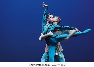 ST. PETERSBURG, RUSSIA - NOVEMBER 16, 2017: Ballet soloists of Mariinsky theater Viktoria Tereshkina and Andrei Yermakov perform during gala concert of great choreographer Oleg Vinogradov