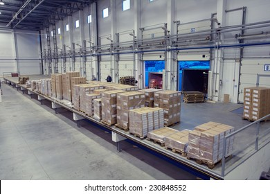 St. Petersburg, Russia - November 21, 2008: Unloading system, inside warehouse doors loading dock. The inner space of the warehouse with a cargo platform for loading dock.