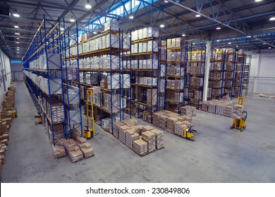 St. Petersburg, Russia - November 21, 2008: Top view of the interior area in a warehouse pallet racking storage of goods.