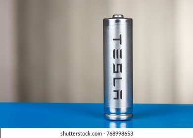St. Petersburg, Russia - November 30, 2017: A cylindrical lithium-ion battery for powering Tesla cars is used in the cells of an acumulator.