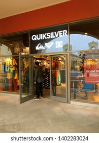 ST. PETERSBURG, RUSSIA - NOVEMBER 7 : Tourist is shopping at Quiksilver store on November 7, 2018 in St.Petersberg, Russia. Quiksilver, Inc. is an American retail sporting company.