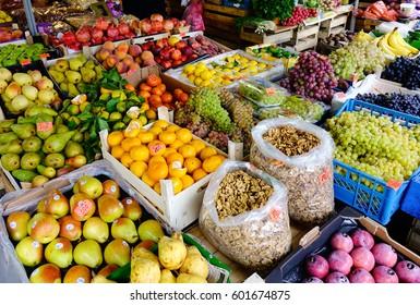 St. Petersburg, Russia - Oct 1, 2016. Fruit market in the town of Pushkin (Tsarskoye Selo), 30 km south of St. Petersburg, Russia.