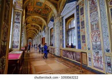 St. Petersburg, Russia - Oct 13, 2016. People visit the Raphael Loggias of Hermitage Museum (Winter Palace) in St. Petersburg, Russia.