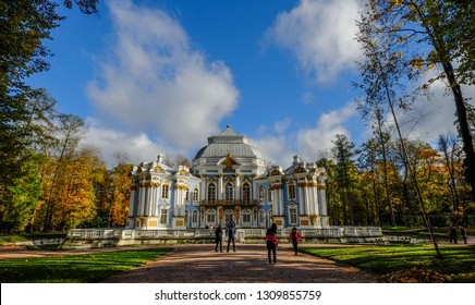 St Petersburg, Russia - Oct 7, 2016. Catherine Palace with autumn garden in Saint Petersburg, Russia. The Palace was the summer residence of the Russian tsars.