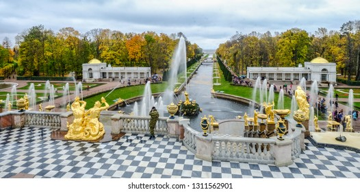 St. Petersburg, Russia - Oct 9, 2016. Grand Cascade of Peterhof Palace. Peter the Great first mentions the Peterhof site in his journal in 1705.