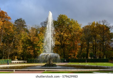 St Petersburg, Russia - Oct 9, 2016. The Grand Foutain at autumn in Peterhof, Saint Petersburg, Russia. The Peterhof Museum Complex is one of the most popular museums not only in Russia.