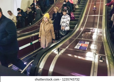 ST PETERSBURG, RUSSIA - OCTOBER 04, 2018: Subway Station Chernyshevska Saint Petersburg Russia. Staircase Escalator Inside the Underground Metro Station