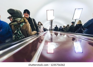 ST PETERSBURG, RUSSIA - OCTOBER 04, 2018: Subway Station Chernyshevskaya Saint Petersburg Russia. Moving Staircase Escalator Inside the Underground Metro Station