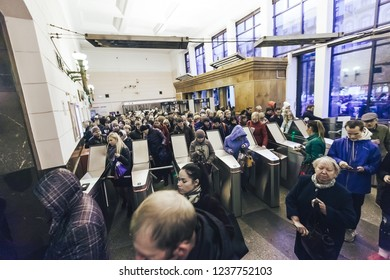 ST PETERSBURG, RUSSIA - OCTOBER 04, 2018: Crowd of People at the Entrance to the Subway Station at Rush Hour. Station Chernyshevskaya Saint Petersburg Russia