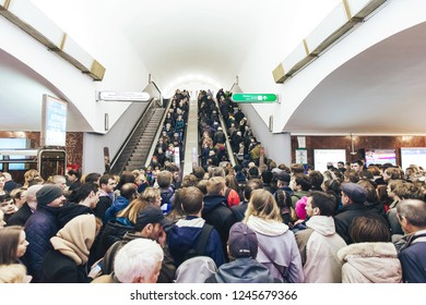ST PETERSBURG, RUSSIA - OCTOBER 04, 2018: Crowd of People Inside the Underground Subway Station at Rush Hour. Metro Station Ploschad Vosstaniya Saint Petersburg Russia