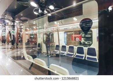 ST PETERSBURG, RUSSIA - OCTOBER 09, 2018: Subway Station Begovaya Saint Petersburg Russia. Inside the Underground Metro Station