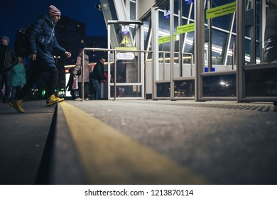 ST PETERSBURG, RUSSIA - OCTOBER 09, 2018: Subway Station Begovaya Saint Petersburg Russia. Metro Station Surface Level Outside View
