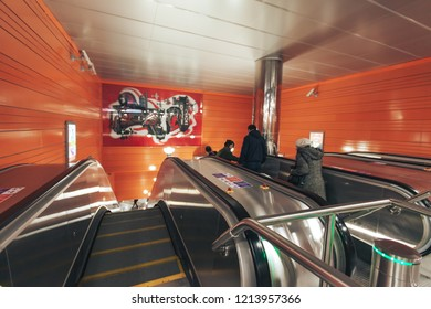 ST PETERSBURG, RUSSIA - OCTOBER 09, 2018: Subway Station Begovaya Saint Petersburg Russia. Inside the Underground Metro Station