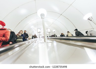 ST PETERSBURG, RUSSIA - OCTOBER 09, 2018: Moving Staircase Escalator Inside the Underground Metro Station. Subway Station Vladimirskaya Saint Petersburg Russia