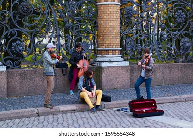 St. Petersburg, Russia - October 10, 2014 - Musicians perform on the street
