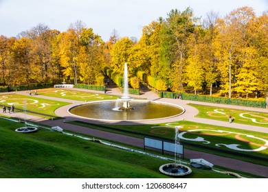 ST PETERSBURG, RUSSIA - October 15, 2018: Museum Preserve Peterhof. Peterhof — a palace and park ensemble on the southern shore of the Gulf of Finland.