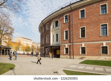 "ST. PETERSBURG, RUSSIA - OCTOBER 16, 2018: New Holland. In building of former prison ""Bottle"" after reconstruction there are cafes, restaurants, shops"