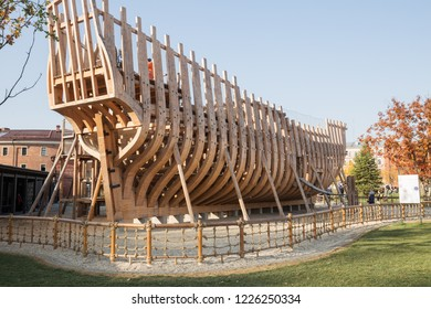 ST. PETERSBURG, RUSSIA - OCTOBER 16, 2018:  New Holland, playground in form of  frame of historic ship frigate Peter and Paul